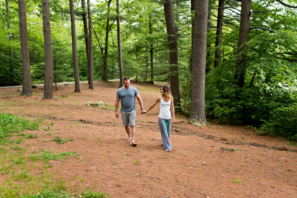 chatfield hollow elopement photography ct, husband and wife holding hands in forest