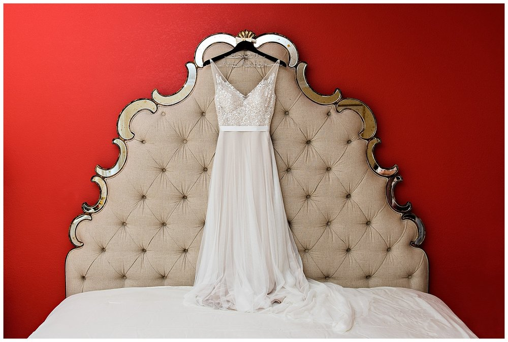 Bride's dress handing in the Bridal Suite at The Litchfield Inn in Litchfield, CT