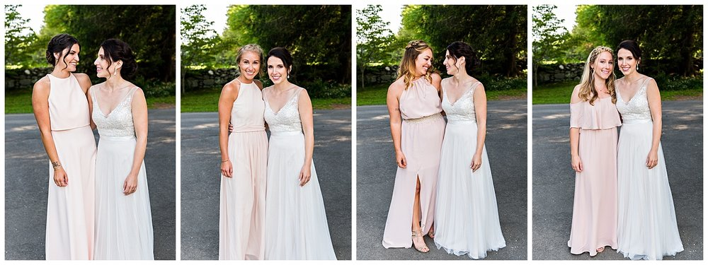 bride with bridal party topsmead litchfield county wedding photographer.