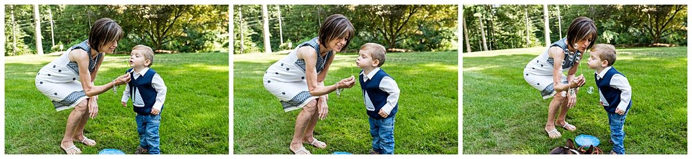 blowing bubbles with grandma large family photography darien, ct photographer