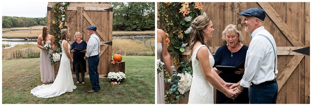 bride and groom saying vows in ct backyard wedding photography