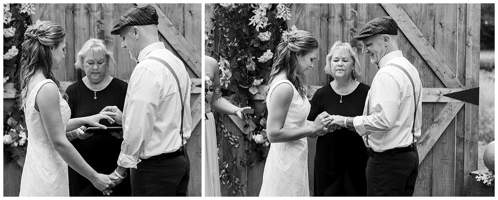bride and groom exchanging rings in backyard wedding in connecticut photography
