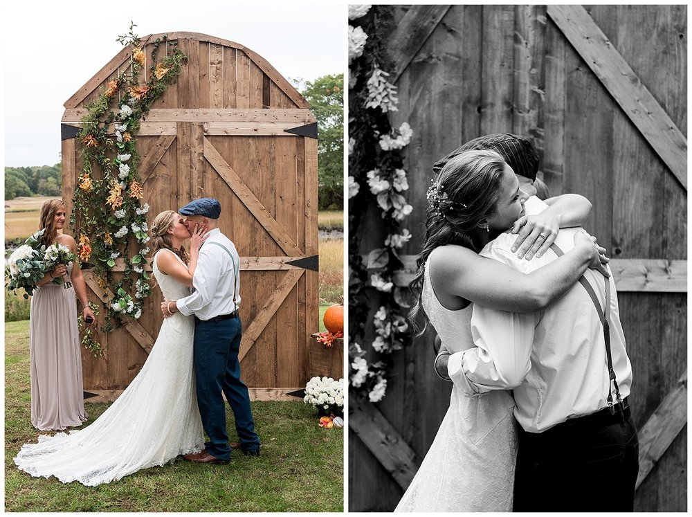 backyard wedding first kiss connecticut wedding photographer