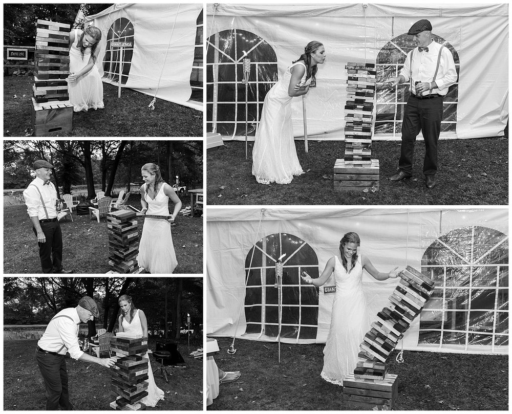 bride and groom playing yard games at backyard wedding in connecticut photography