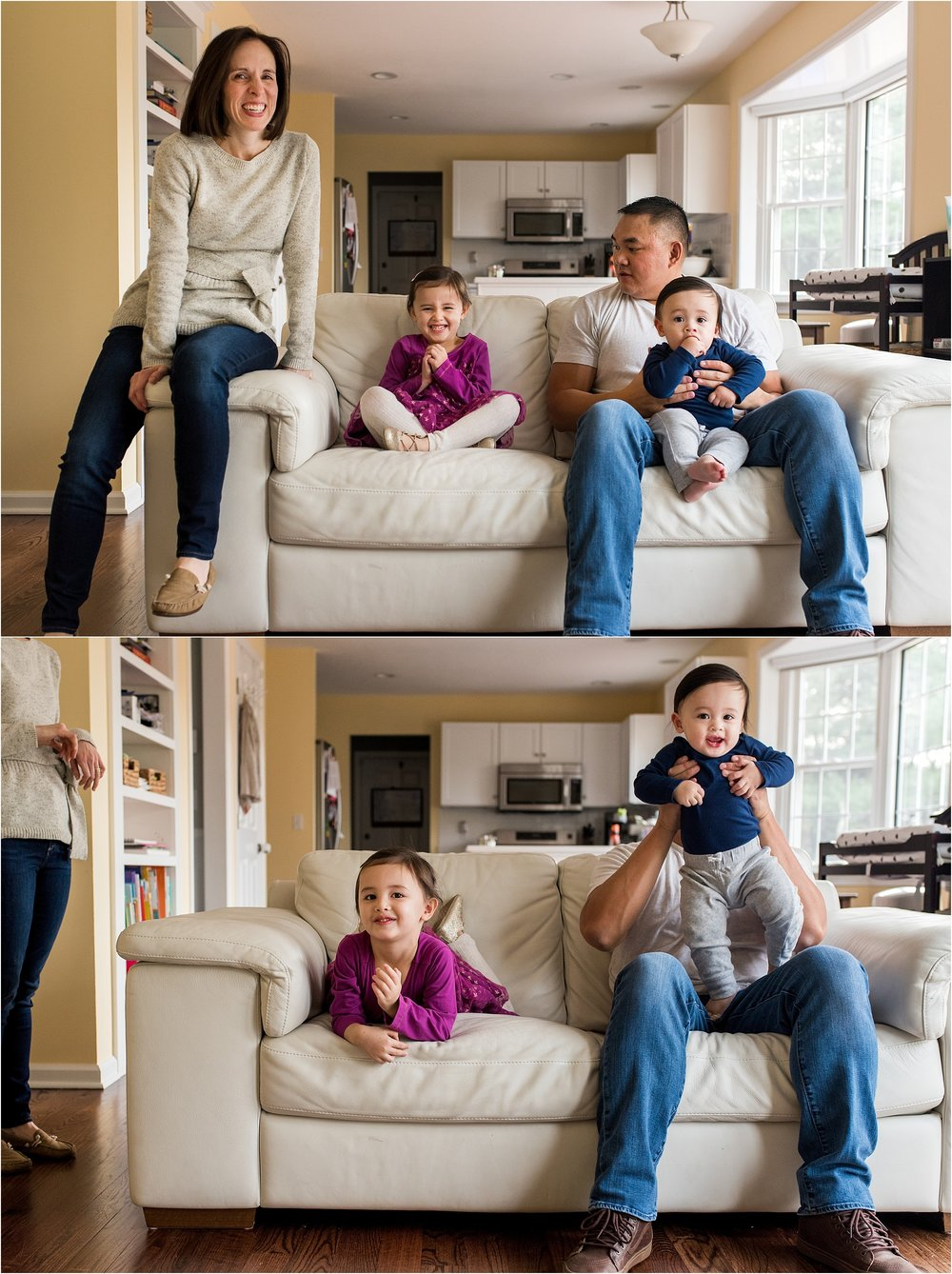 brother and sister in living room in home baby photographer middletown, ct