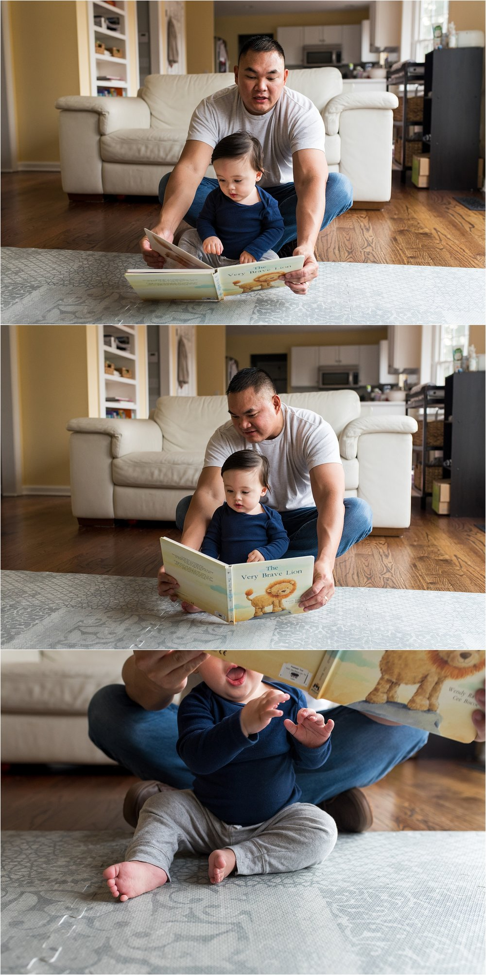 dad reading baby book in home baby photography ct