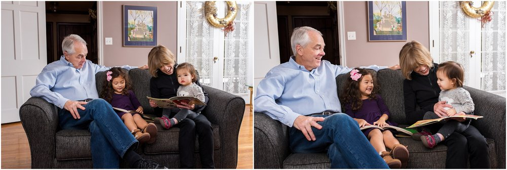 grandparents reading a book to grandchildren, connectiut extended family photographer