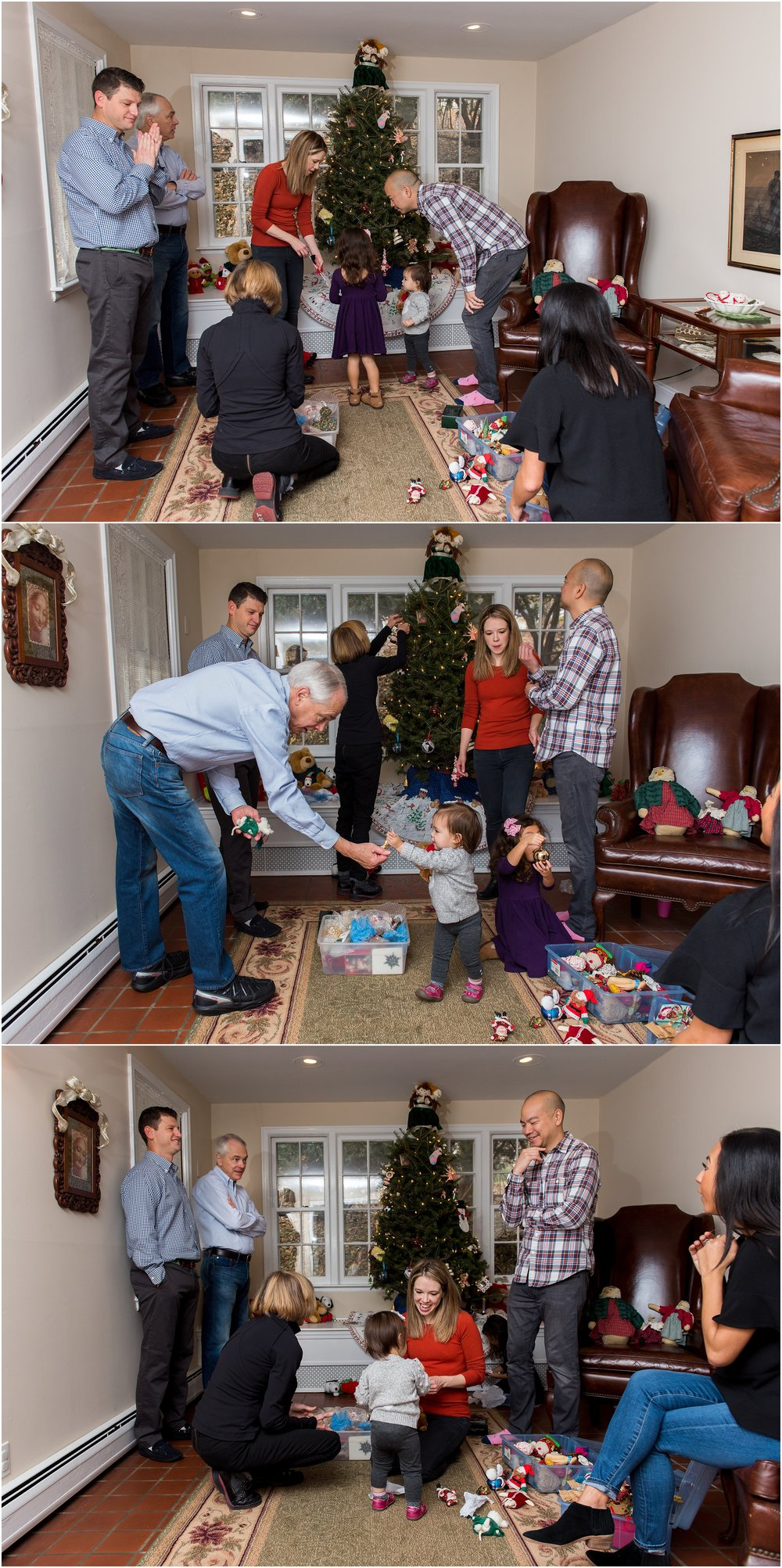 family decorating christmas tree, large family photography ct