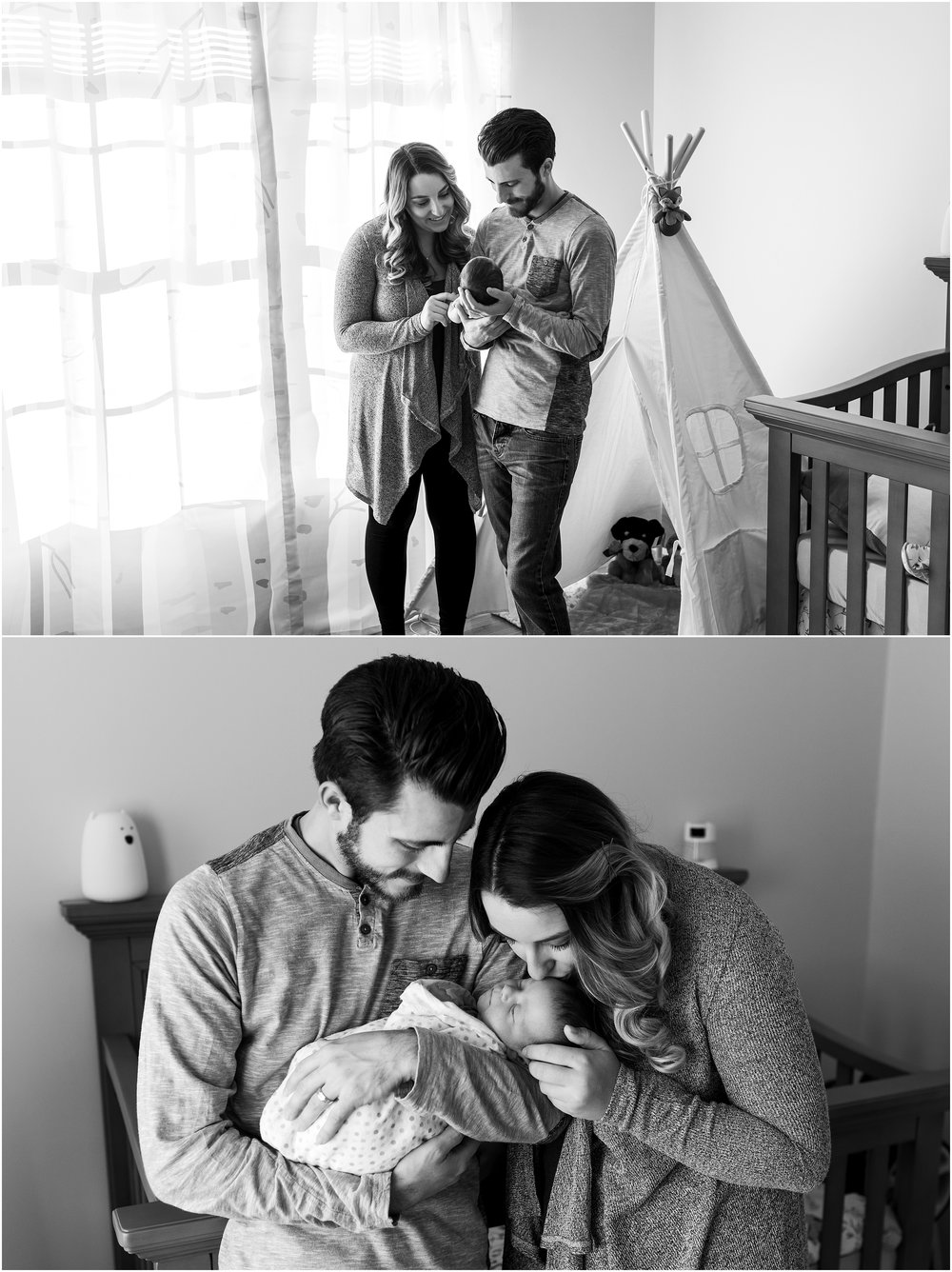new haven ct newborn photography mom and dad in nursey with newborn