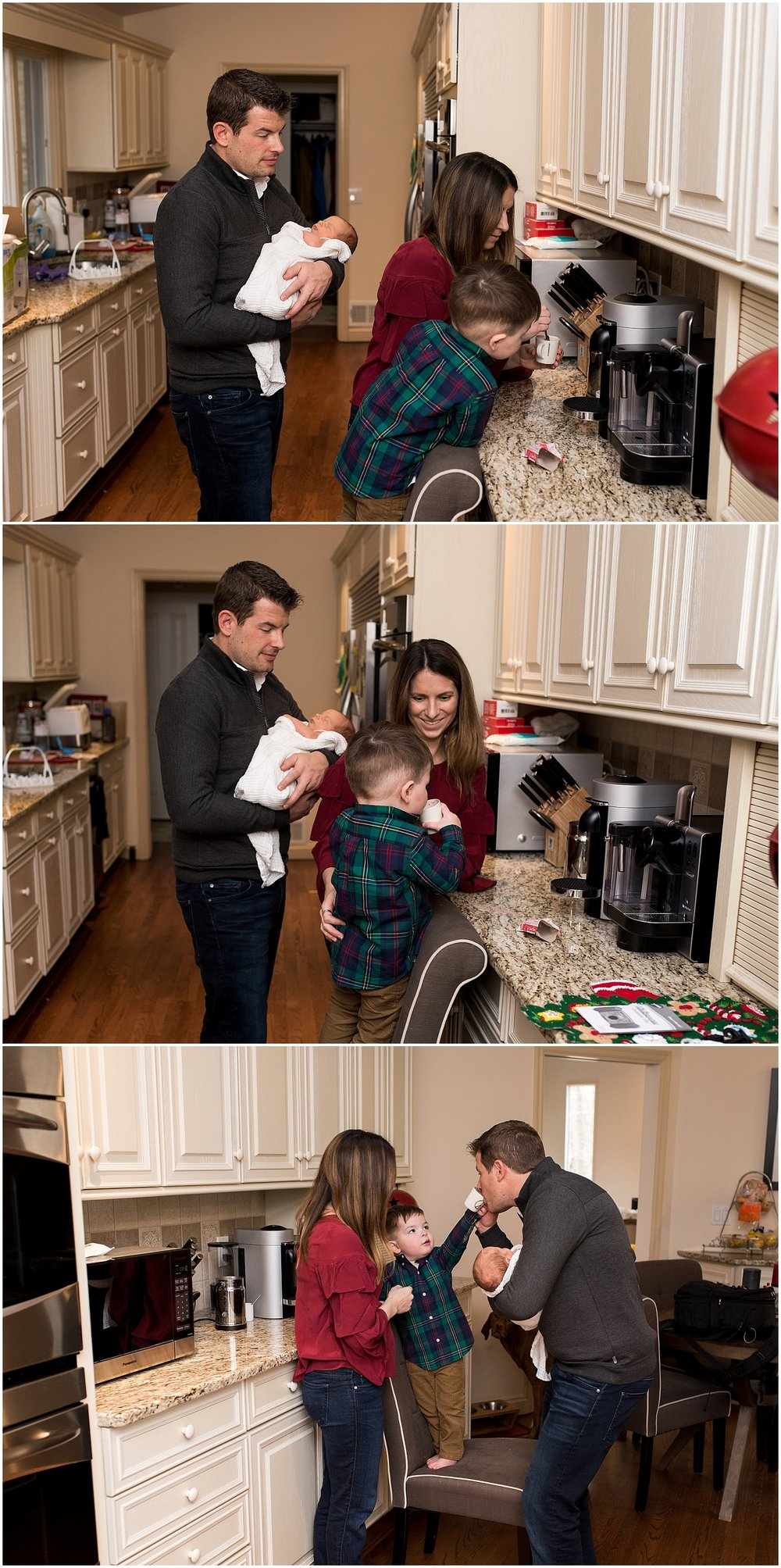 family making hot cocoa. connecticut newborn photography