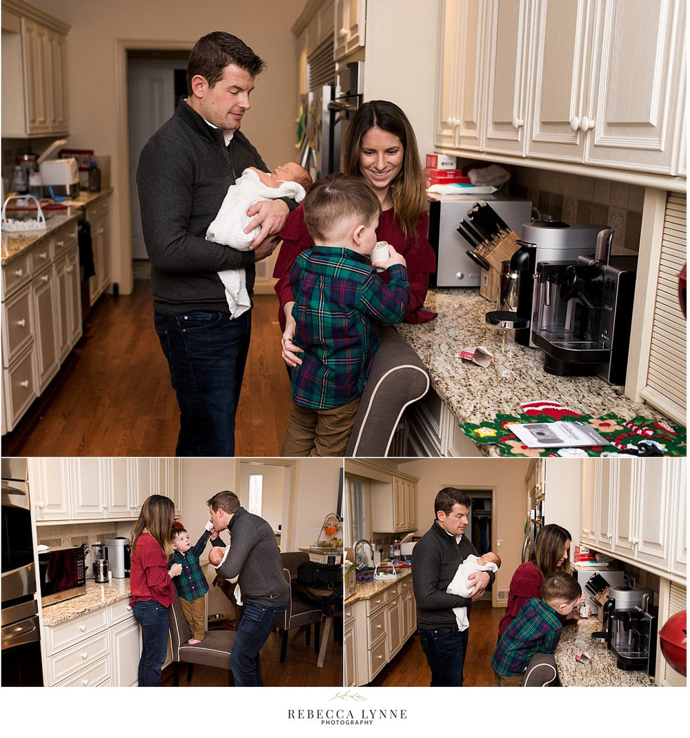 at home lifestyle newborn photography in the kitchen