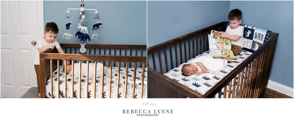 older sibling in nursey with newborn. what is lifestyle newborn photography