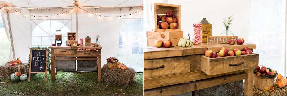 apple themed rustic wedding decor