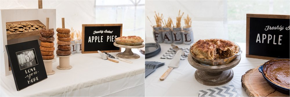 apple pie and donut rustic wedding decor