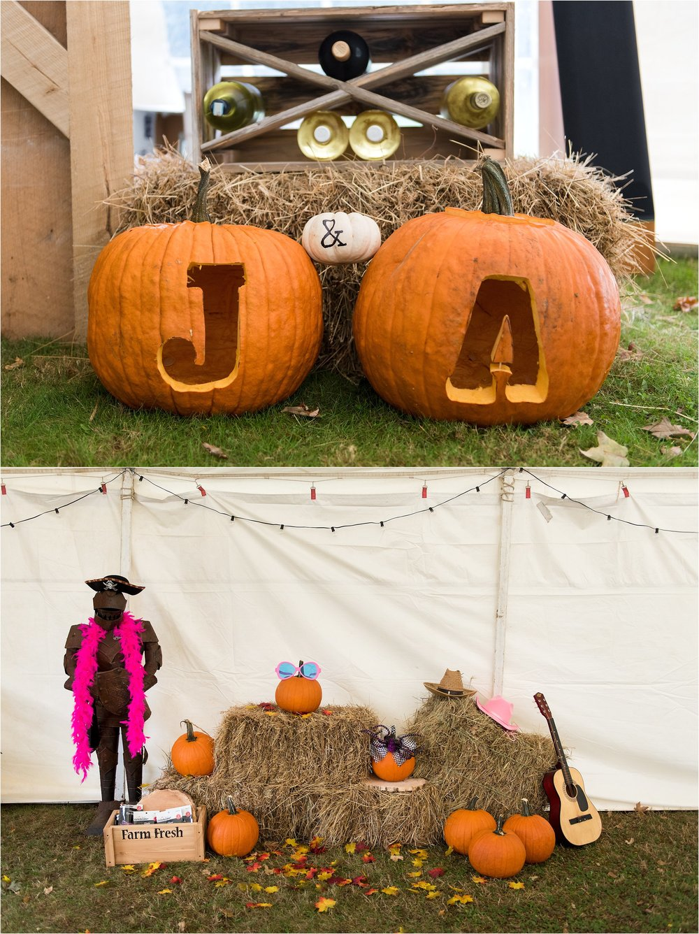 carved pumpkins and hay rustic wedding decor