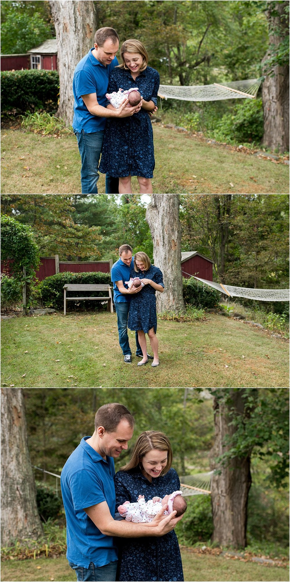 mom and dad with baby in yard. newborn photography ct