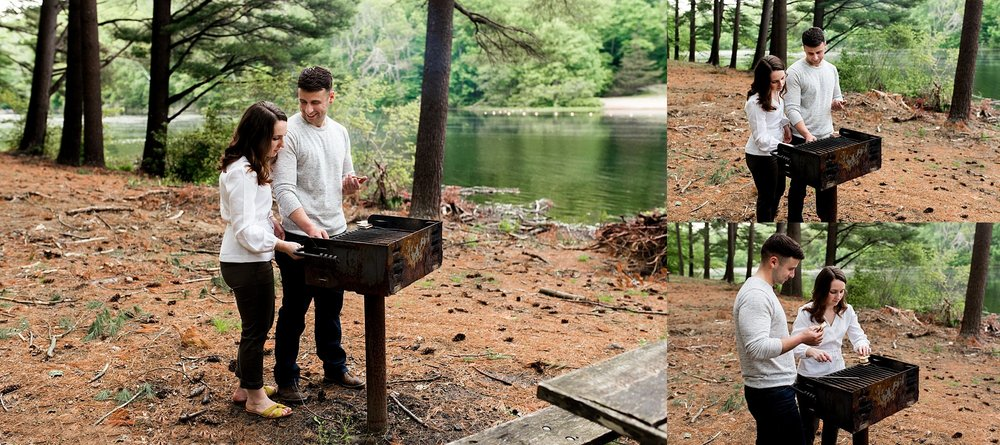 ct engagement photography cooking s'mores