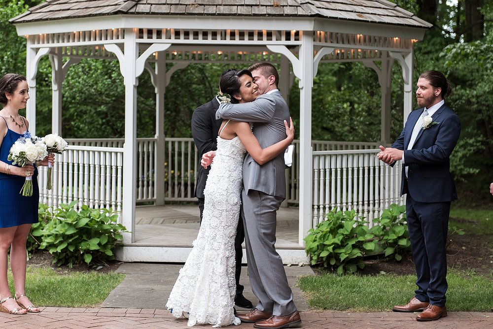 bride and groom first kiss avon old farms wedding venue