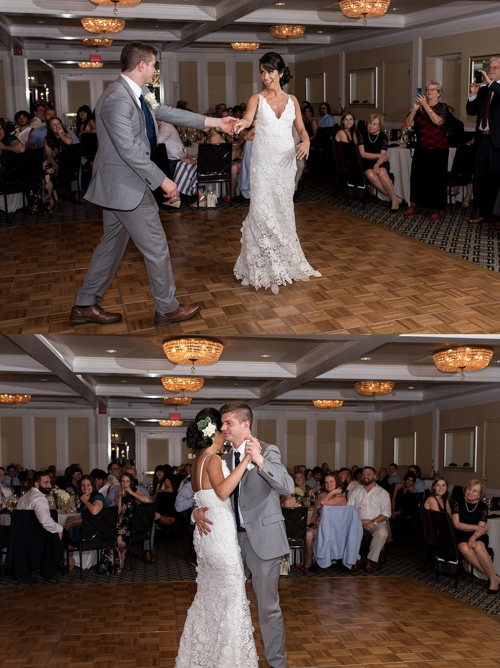 bride and groom first dance at avon old farms hotel wedding venue