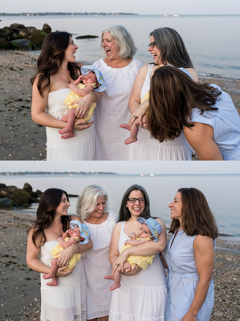 sisters with mother during extended family photography in connecticut