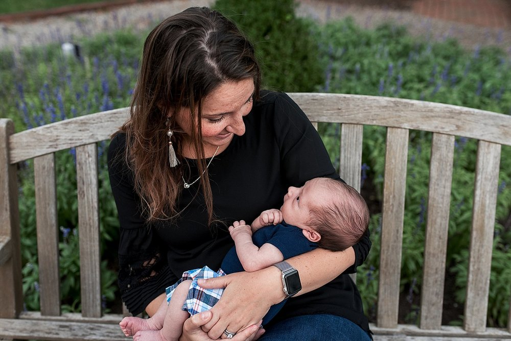 outdoor newborn photography session in downtown essex, ct