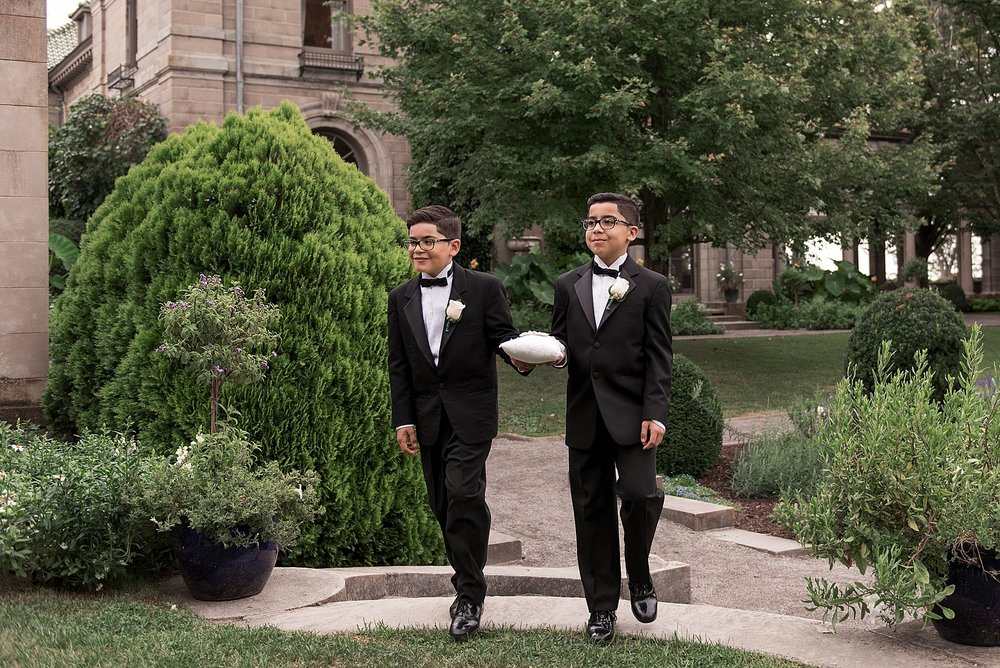 ring bearer at Eolia Mansion wedding ceremony. candid wedding photographer CT