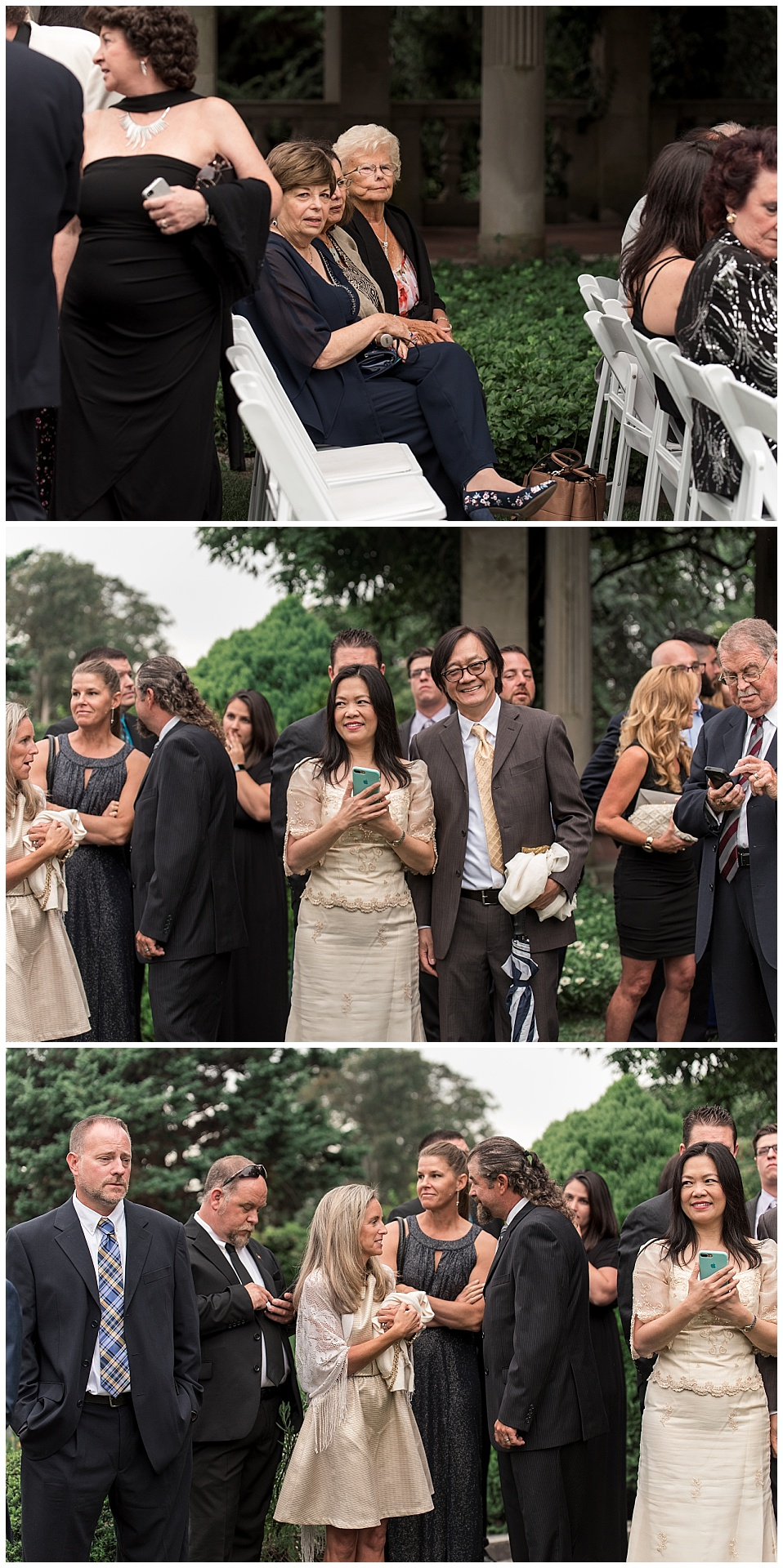 wedding guest in garden at Eolia Mansion at Harkness Park CT wedding photography