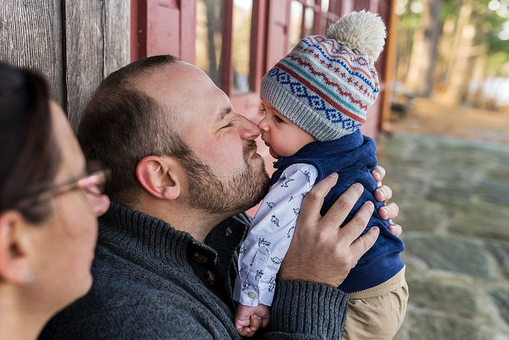 Daddy kissing baby son's nose in Kilingworth, CT photographer session