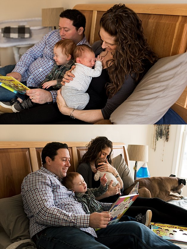 Family reading books together in bed with toddler and newborn. Connecticut at home newborn photographer.