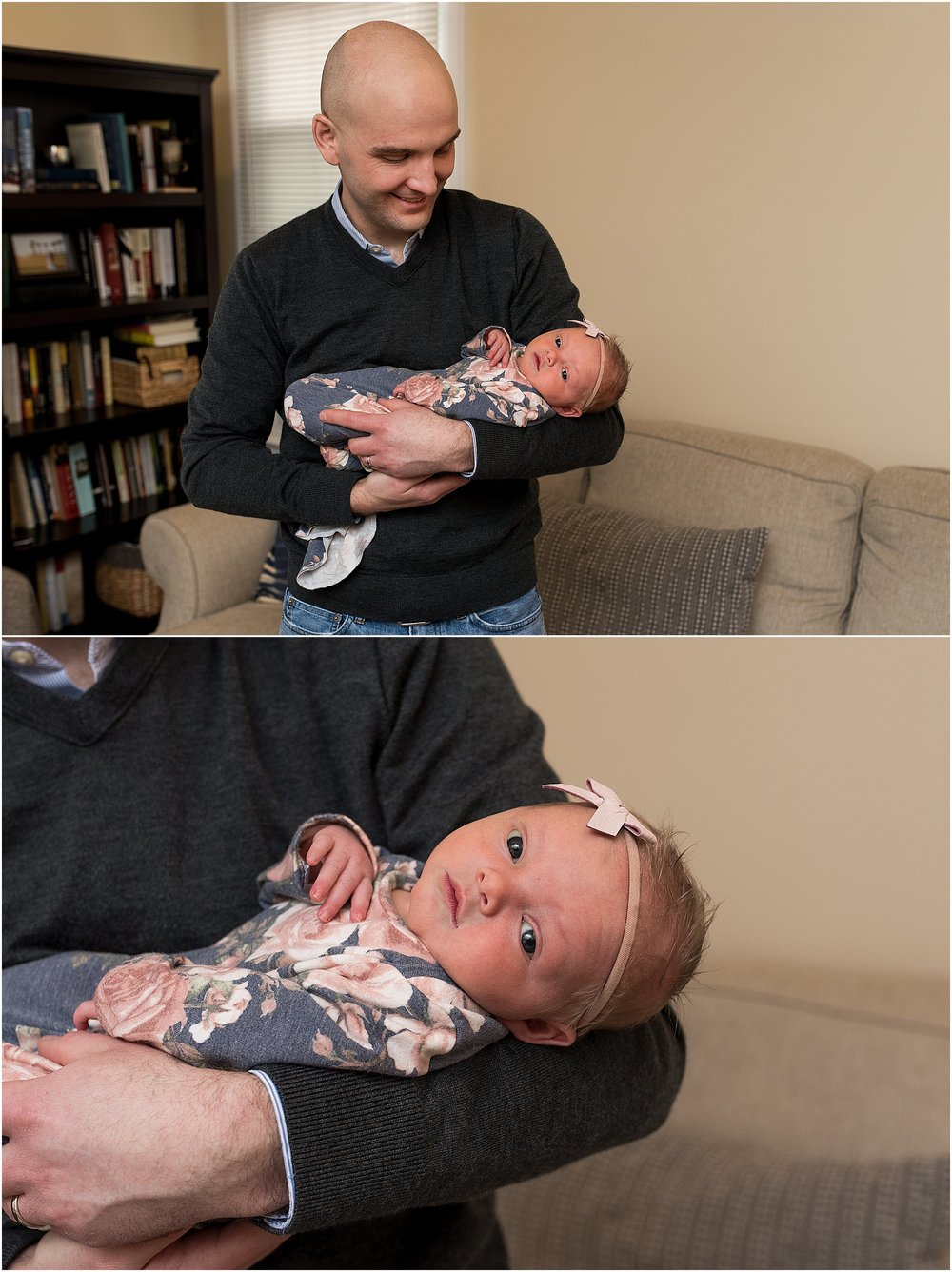 CT baby photographer, Rebecca Lynne photographing newborn girl during at home session.