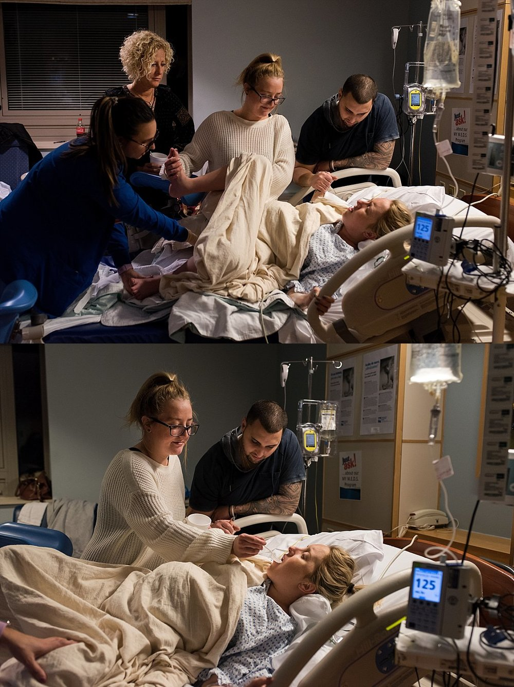 Mother with her support team while giving birth to her baby boy at St Francis Hospital in Hartford, CT.