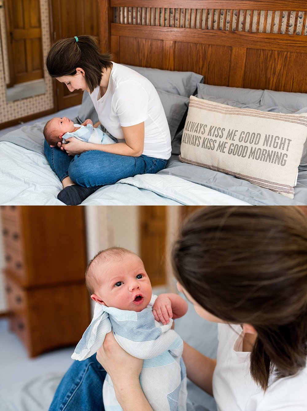 Mom holding newborn boy on bed during baby photography ct