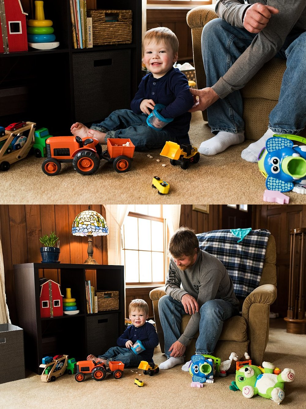 toddler playing toys during baby photography ct