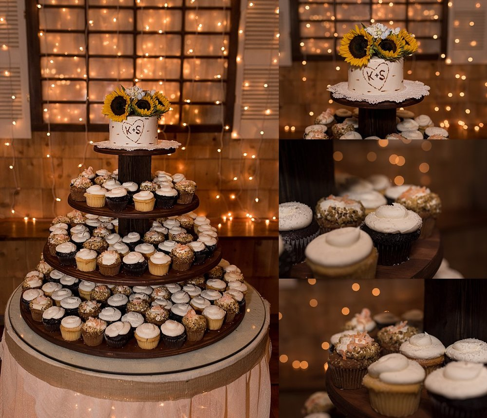 wedding day cupcake tower at wood acres farm in terryville, ct