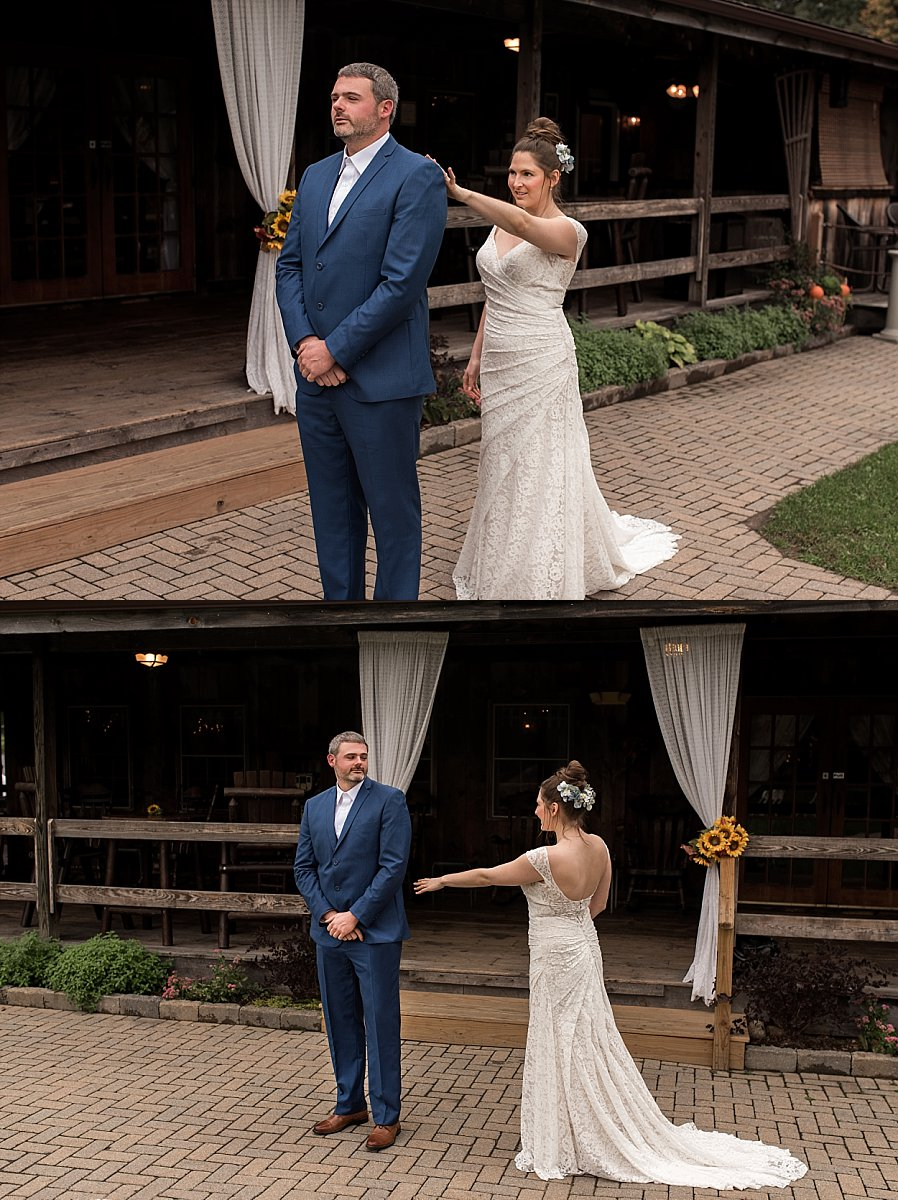 bride and groom having their first look on their wedding day at wood acres farm. ct wedding photography