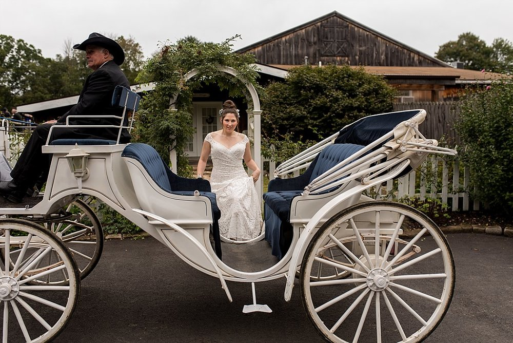 Bride getting into carriage at wood acres farm connecticut wedding