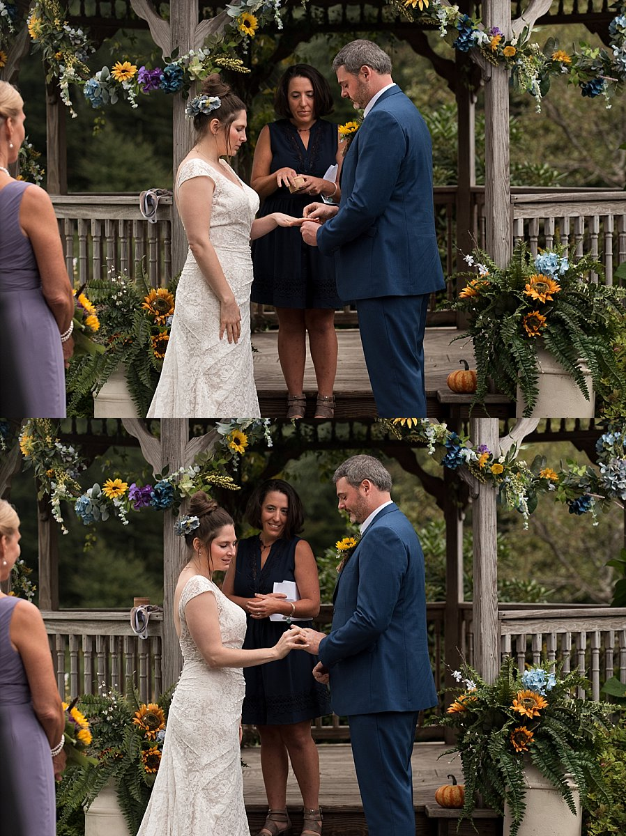 bride and groom exchanging rings. connecticut photographer