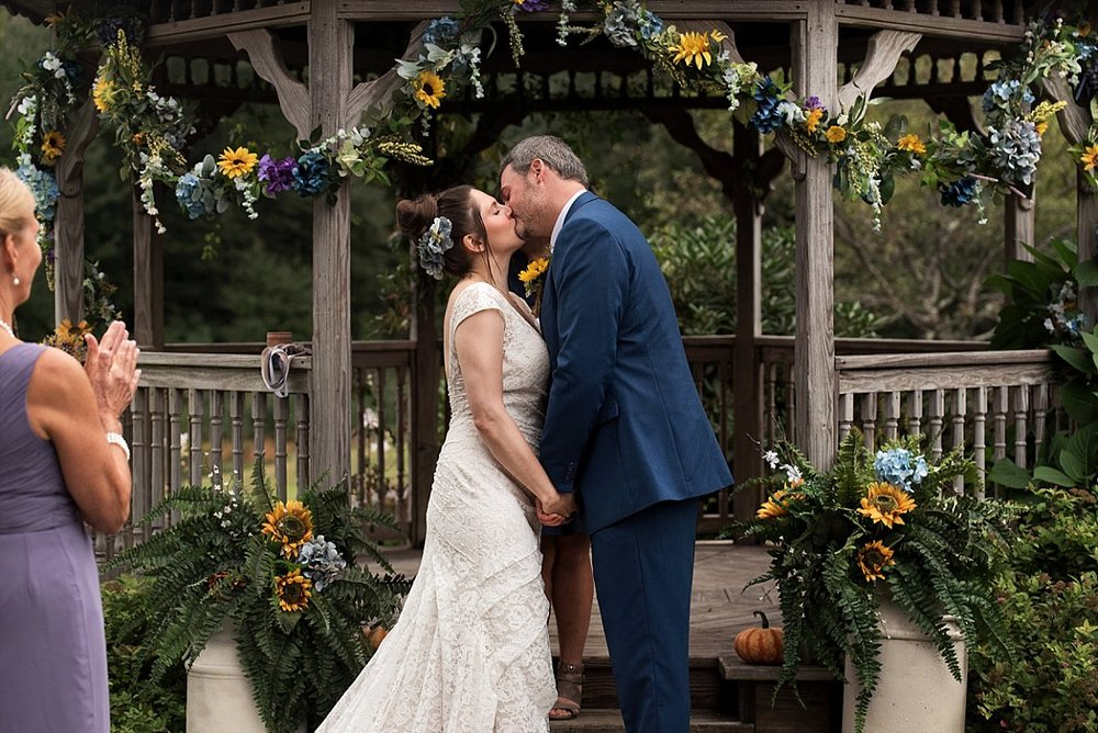 bride and grooms first kiss. connecticut wedding photography