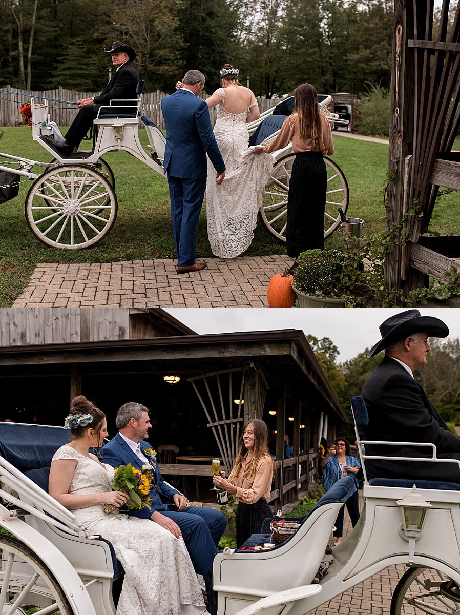 Bride and groom in carriage at wood acres farm in terryville ct