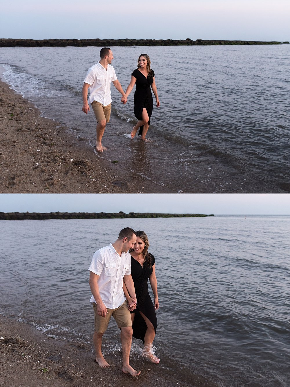 engaged couple holding hands and walking in the water at connecticut photography session