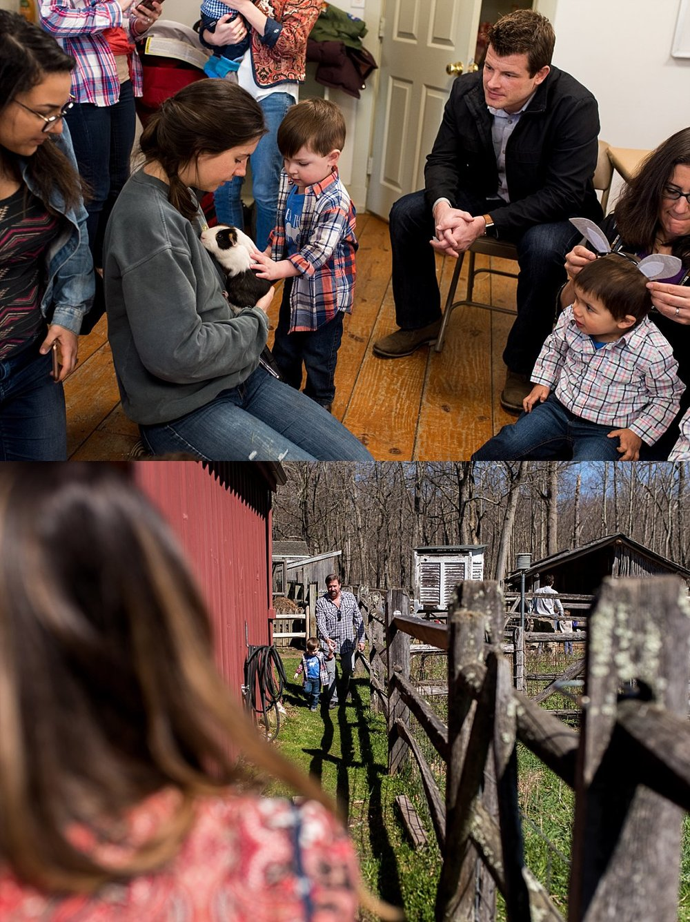 Petting animals at Stamford Nature Center birthday party photography
