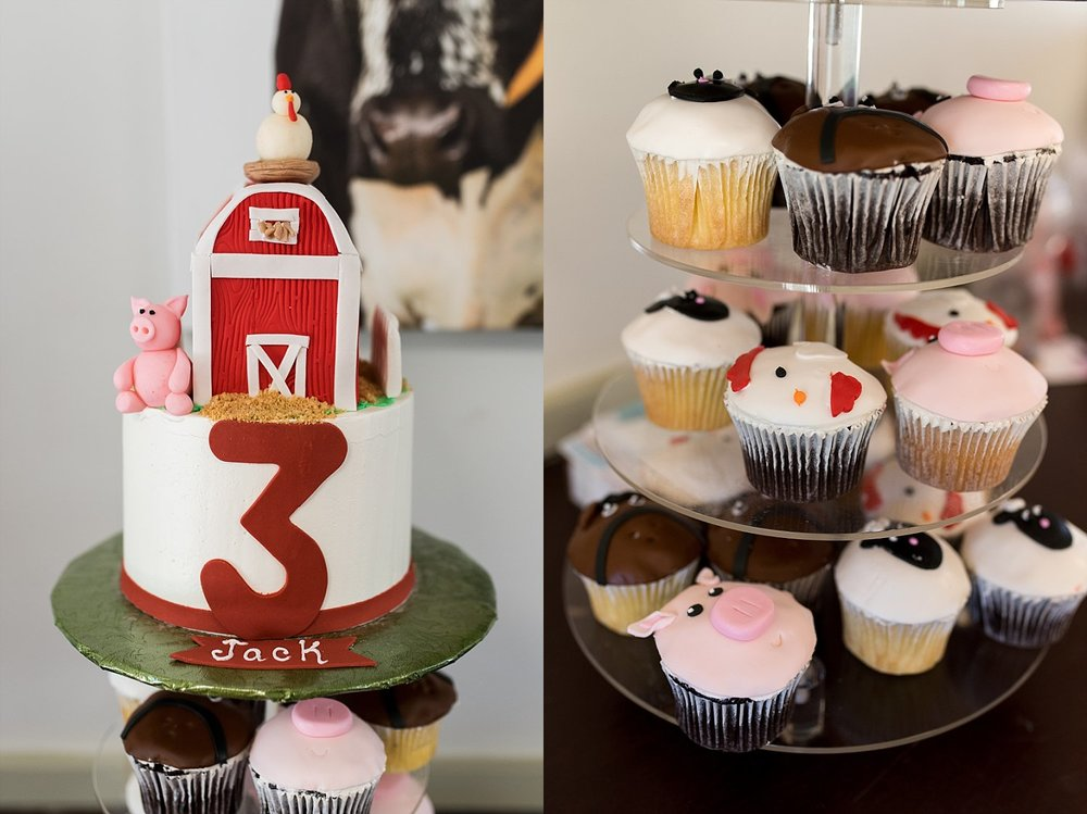 Farm themed cupcakes at birthday party in Stamford, CT