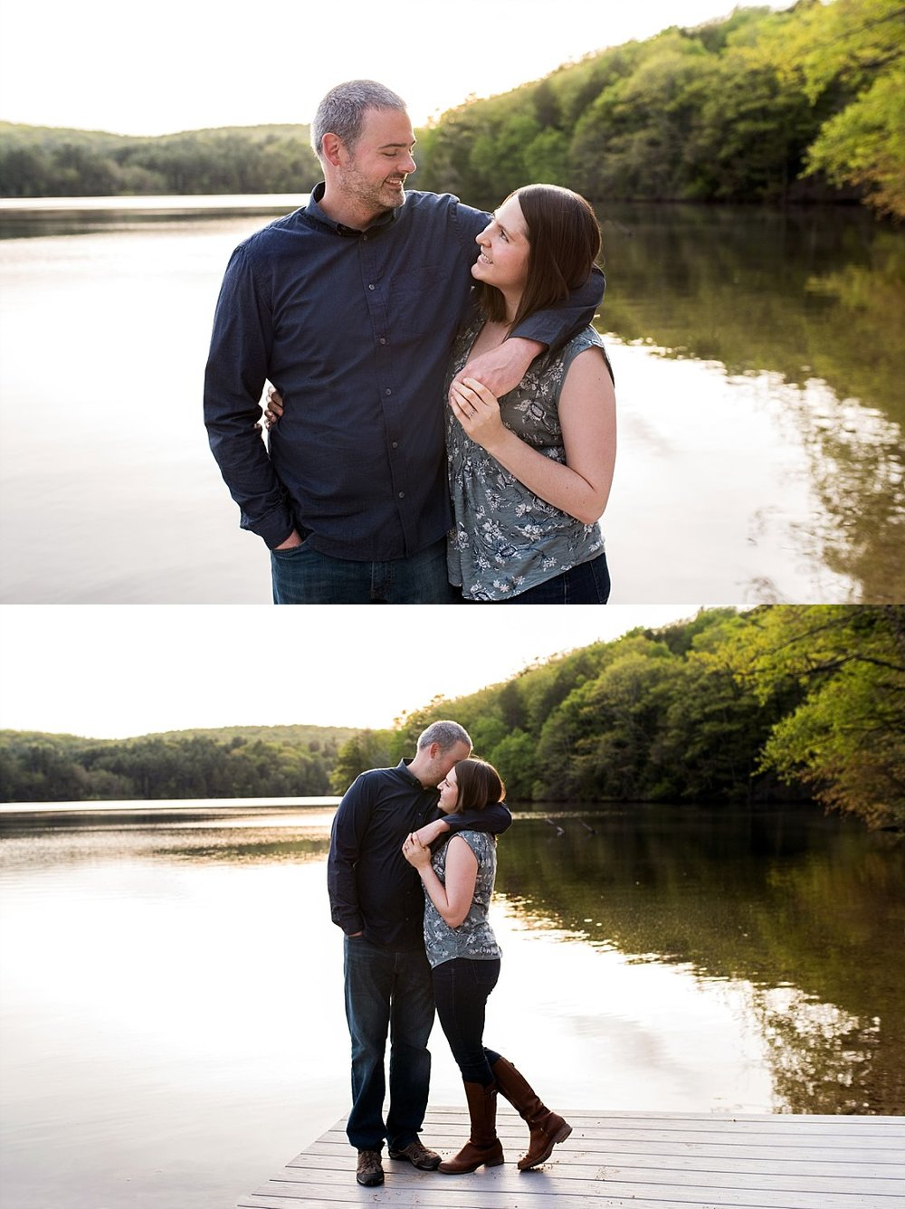 Connecticut engaged couple standing on a dock daydreaming about their CT wedding photos