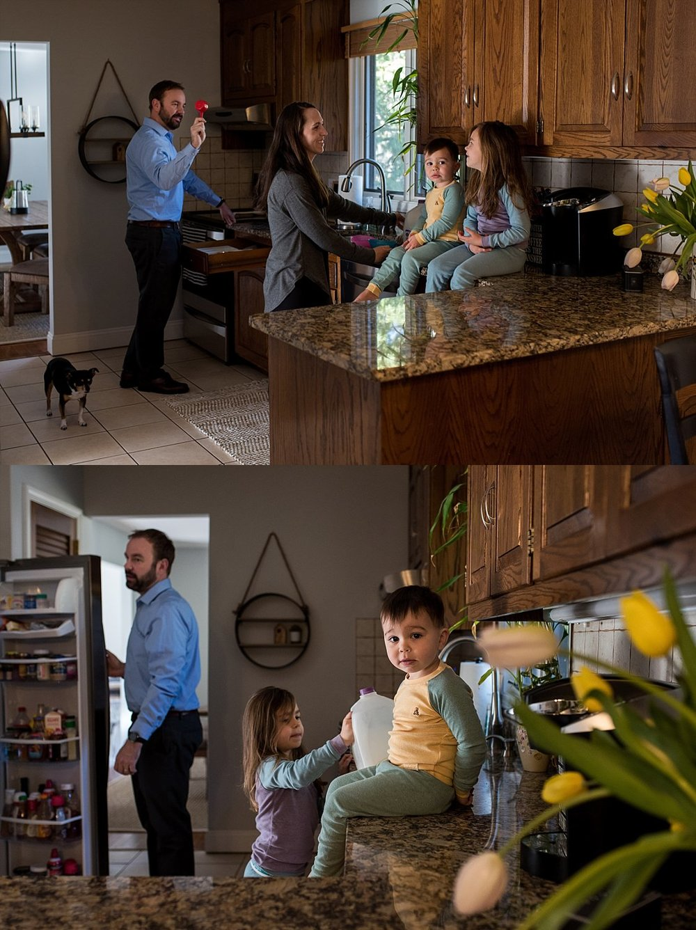 family making breakfast together. CT family photographer