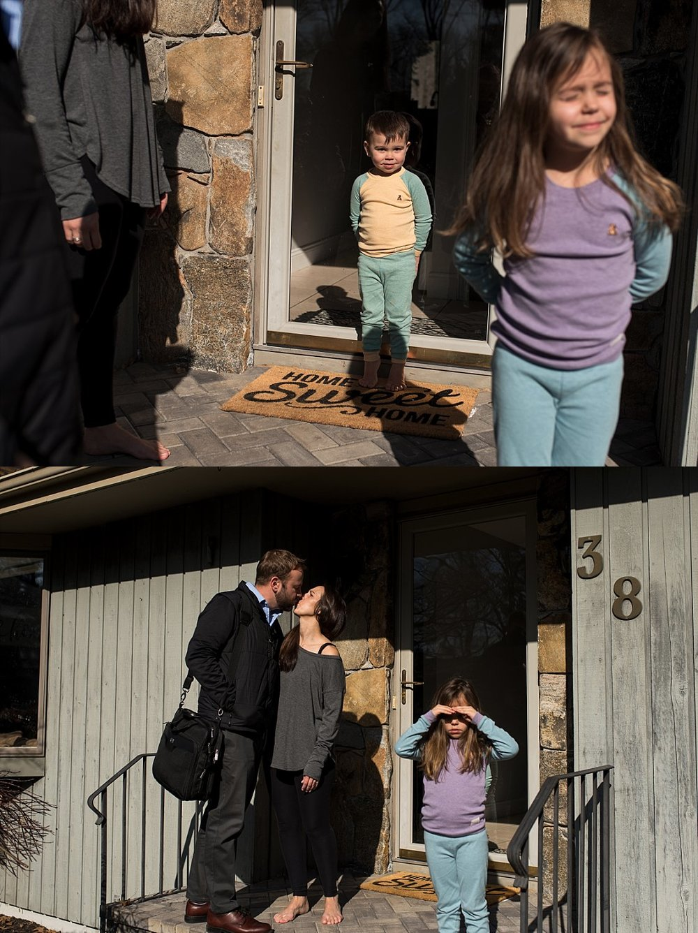 children saying goodbye to their dad who is leaving for work. Connecticut lifestyle family photographer