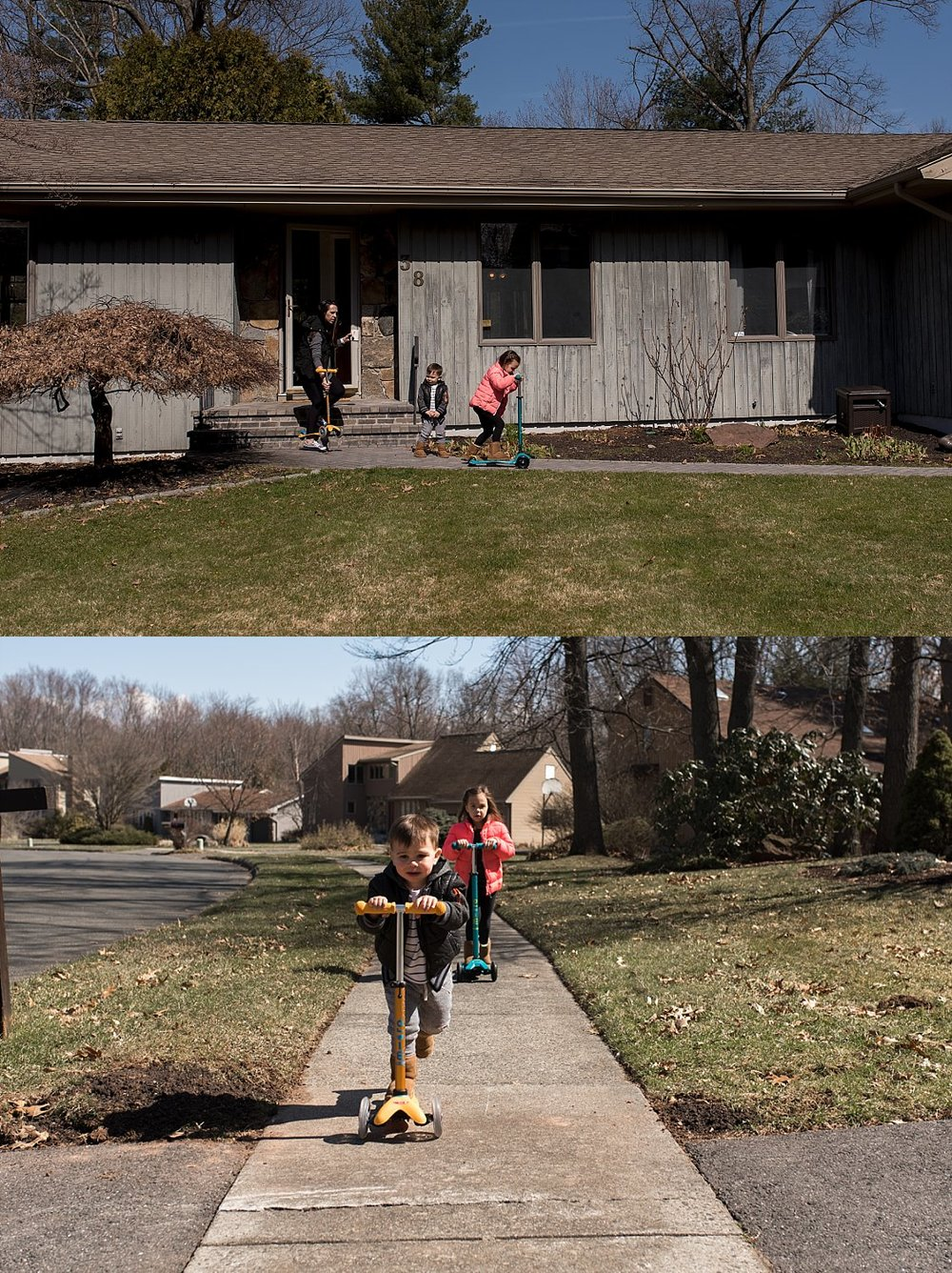children riding scooters. ct documentary photographer.