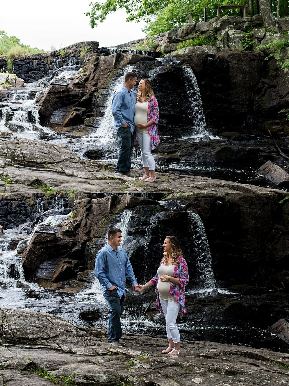 husband and expecting wife holding hands in front of a waterfall during their CT maternity photography session