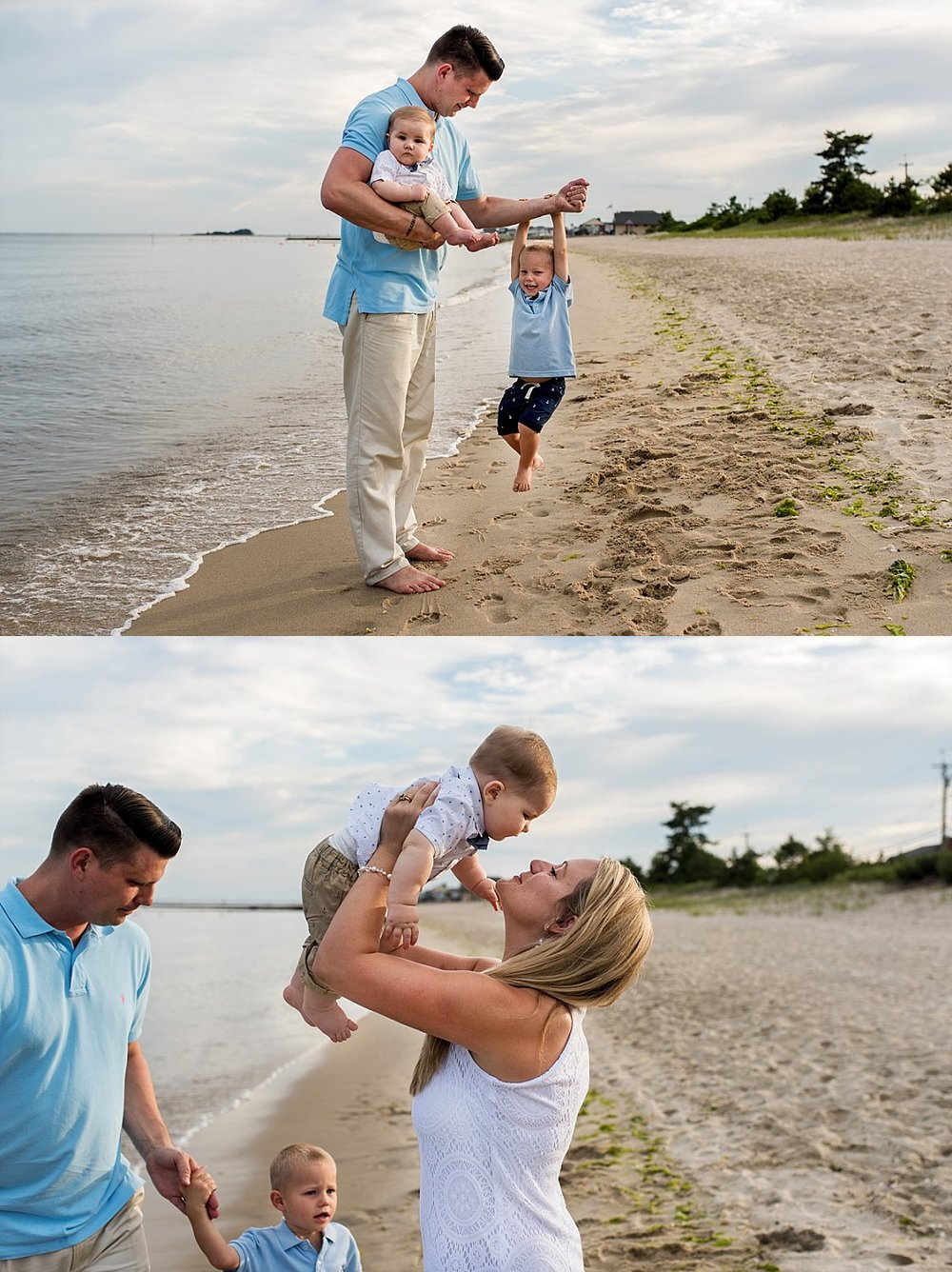 CT baby photographer. Children being silly on the beach in Westbrook, Connecticut photography