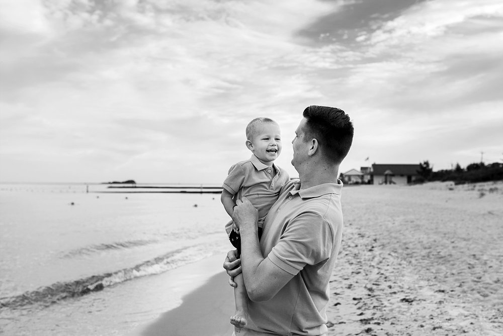 Father and son smiling during CT family photography
