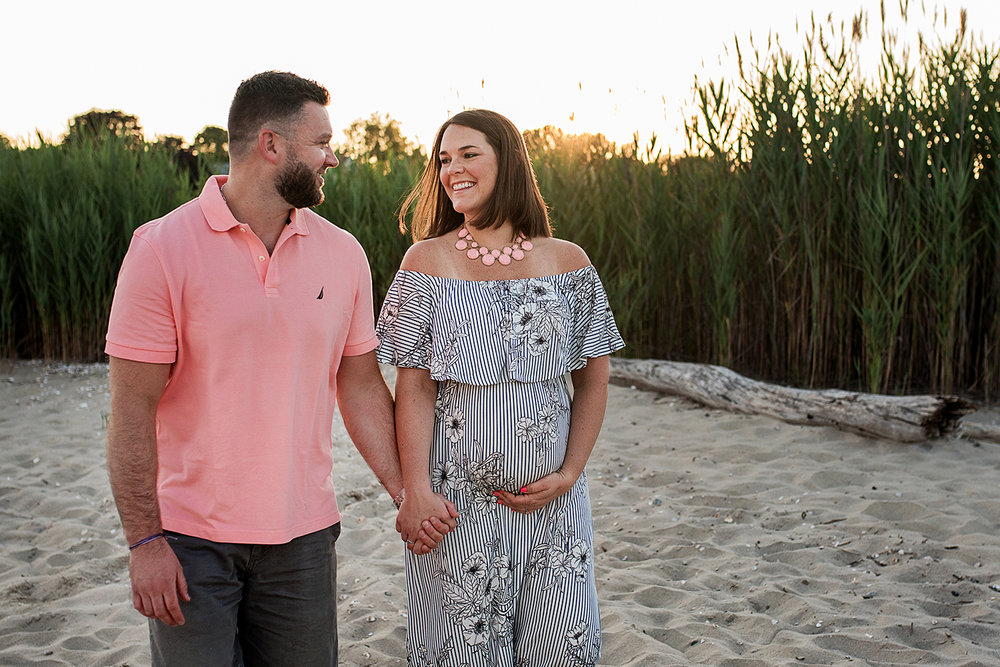 CT maternity photographer in Old Saybrook on the beach at sunset.